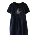 Dark Blue Short Sleeve Vintage Mirror Embroidered Babydoll Dress