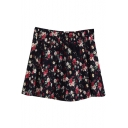 Black Background Fresh Colorful Rose Short Skater Skirt