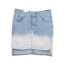 Light Blue Ombre High-Low Hem Denim Bodycon Skirt