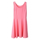 Candy Color Sleeveless Plain Fitted Pleated Sundress