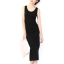Plain Sleeveless Fitted Pencil Dress with Back Split