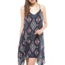 V-Neck Geometry Pattern Print Slip Asymmetric Hem Dress