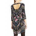 3/4 Sleeve Cutout Back Boat Neck Vintage Flower Print Column Dress