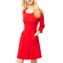 Plain 3/4 Sleeve Round Neck Pocket Dress