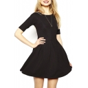 Plain Half Sleeve Round Neck Pleated Dress