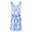 White Sleeveless Blue Floral Print Gathered Waist Tank Dress