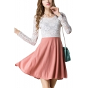 White Lace Top and Pink Skirt Long Sleeve Dress