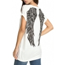 White Short Sleeve Wing Print Tunic T-Shirt