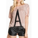 Nude Striped Letter A Short Sleeve Loose Tee