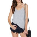 Gray Halter Cross Open Back Loose Cami