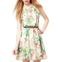 Floral Print Chiffon Sleeveless Belted Dress