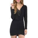 V-Neck Wrap Long Sleeve Dress