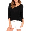Black Long Sleeve White Bow Tie Back T-Shirt