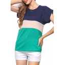 Color Block Short Sleeve Chiffon T-Shirt