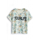 Yellow Letter Floral Crop Cuffed T-Shirt