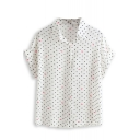 Polka Dot Mouth Print Short Sleeve Chiffon Shirt