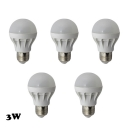 Warm White Light LED Globe Bulbs E27 3W (5 Pcs )