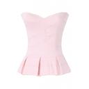 Pink Strapless Cross Bandage Style Ruffle Hem Blouse