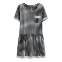 Black Short Sleeve Lace Trim Gingham Pattern Dress