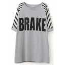 Gray 1/2 Sleeve Stripe&Brake Print Loose T-Shirt