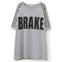 Gray 1/2 Sleeve Stripe&Brake Print Loose T-Shirt