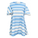 Light Blue Thick Stripe Ruffle Short Sleeve Navy Style Dress