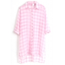 Pink 1/2 Sleeve Plaid Step Hem Chiffon Midi Shirt