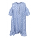Blue All Over Flora Cold Shoulder Button Embellish Shift Dress