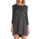 Gray Concise Asymmetric Hem Long Sleeve Smock Dress