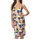 V-Neck Laid Back Abstract Floral Print Slip Dress