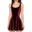 Burgundy Velvet Round Neck A-line Tank Dress