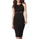 Sexy Black Mesh Inserted Sheer Sleeveless Bodycon Mid Dress