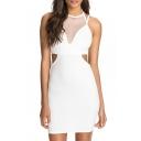 Plain Halter Sheer Net Insert Cutout Waist Sleeveless Dress