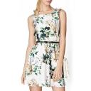 Floral Print Round Neck Sleeveless  with Belt Dress
