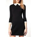Contrast Color Lapel Long Sleeve Babydoll Dress