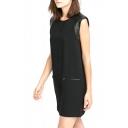 Black PU Insert Sleeveless Double Pocket Dress