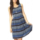 Ethnic Print Sleeveless V-Back Tied Dress