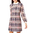 Floral Print Lapel Long Sleeve Fitted Dress