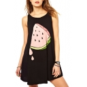 Black Watermelon Print Mini Sun Dress