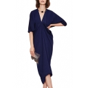 Navy V-Neck Half Sleeve Draped Dress