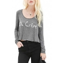 Gray Long Sleeve French Letters Crop T-Shirt