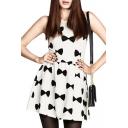 Black Bow Tie Print Sleeveless A-line White Mini Dress