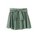 Green Gingham Bow Tie Waist Comfort A-line Skirt