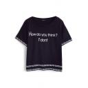 Black Summer Letter Print Shirt Sleeve Tee