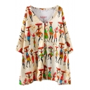 Apricot Ethnic Style Lady Print V-Neck Loose Mini Dress