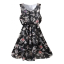 Elegant Black Flower Print Chiffon Elastic Waist Tanks Dress