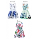 Butterfly&Flower Print Sleeveless Fit&Flare Dress