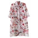 White Background Flower 1/2 Sleeve Chiffon Midi Shirt