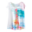 Ink Color Paris Tower Print White T-Shirt