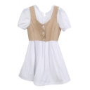Khaki Button Fly Crop Vest Cover White Short Sleeve Dress